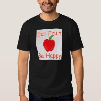Coma la fruta, sea feliz con Apple rojo crujiente Playeras