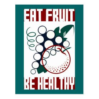 Coma la fruta sea sano tarjeta postal