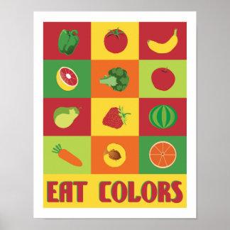 Coma la fruta y verdura 11 x de los colores la póster