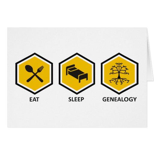 Coma la genealogía del sueño tarjeta de felicitación