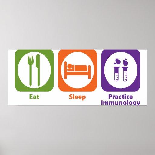 Coma la inmunología de la práctica del sueño póster