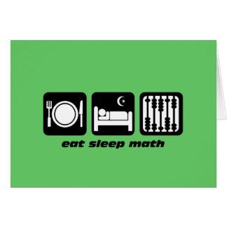 coma la matemáticas del sueño tarjeta de felicitación