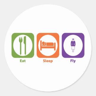 Coma la mosca del sueño pegatina redonda
