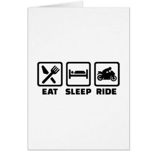 Coma la motocicleta del paseo del sueño tarjeta de felicitación