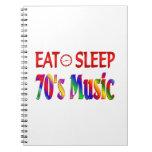 Coma la música de los años 70 del sueño libreta espiral