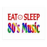 Coma la música de los años 80 del sueño postales