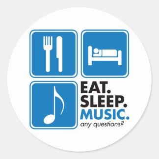Coma la música del sueño - azul pegatina redonda