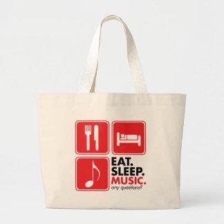 Coma la música del sueño - rojo bolsas lienzo