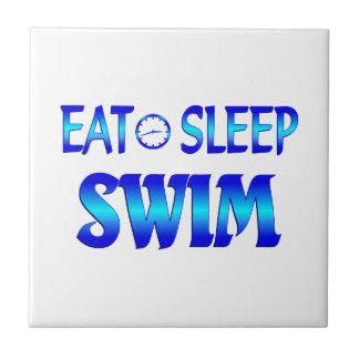 Coma la nadada del sueño azulejo cuadrado pequeño