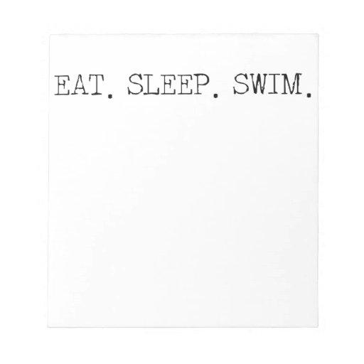 Coma la nadada del sueño bloc de papel