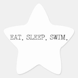 Coma la nadada del sueño pegatina en forma de estrella
