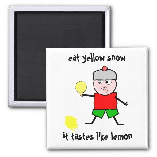 Coma la nieve amarilla imán cuadrado