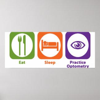Coma la optometría de la práctica del sueño póster