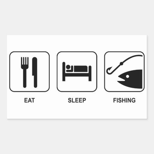 Coma la pesca del sueño pegatina rectangular