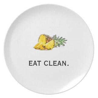 Coma la placa limpia plato para fiesta