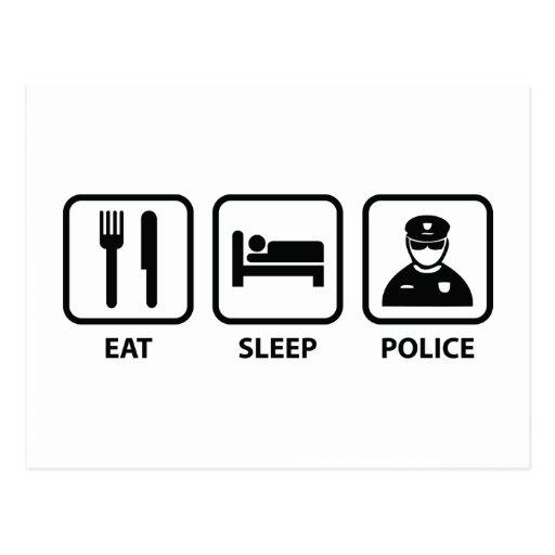 Coma la policía del sueño postal