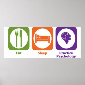 Coma la psicología de la práctica del sueño póster