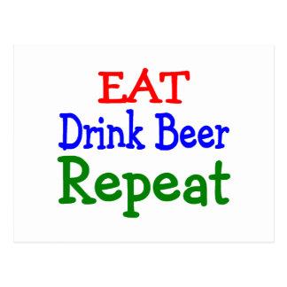 Coma la repetición de la cerveza de la bebida postales