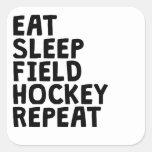 Coma la repetición del hockey hierba del sueño pegatina cuadrada