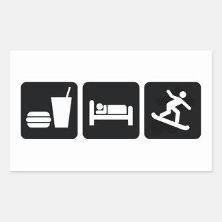 Coma la snowboard del sueño rectangular pegatinas