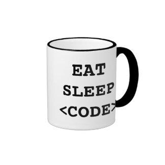 Coma la taza de café del código del sueño para los