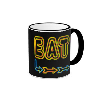 Coma la taza de café retra del arte de la señal de