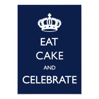 Coma la torta y celebre el cumpleaños invitan a la invitación 12,7 x 17,8 cm