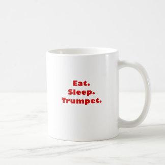 Coma la trompeta del sueño taza básica blanca