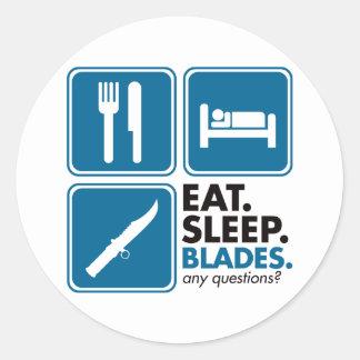 Coma las cuchillas del sueño - azul etiqueta redonda