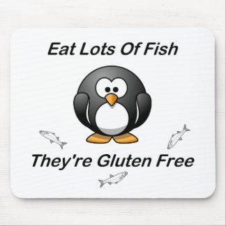 Coma las porciones de pescados, ellas son gluten l alfombrillas de ratones