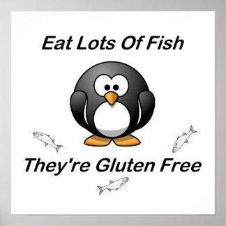 Coma las porciones de pescados, ellas son gluten l posters