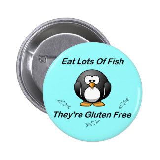 Coma las porciones de pescados, ellas son gluten l pin redondo de 2 pulgadas