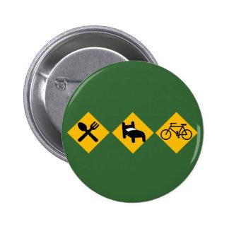 Coma las señales de tráfico de la bicicleta del su pin redondo de 2 pulgadas