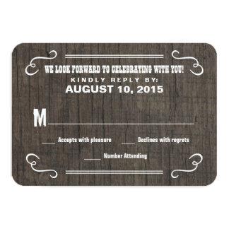 """Coma las tarjetas de contestación de madera del invitación 3.5"""" x 5"""""""
