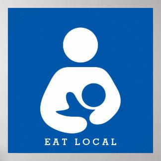Coma local/el icono del amamantamiento/del oficio póster