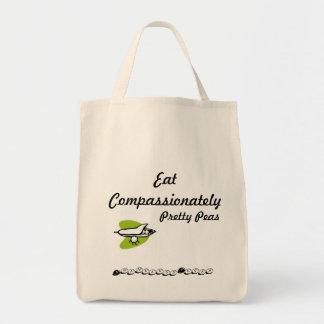 Coma los guisantes compasivamente bonitos bolsa tela para la compra