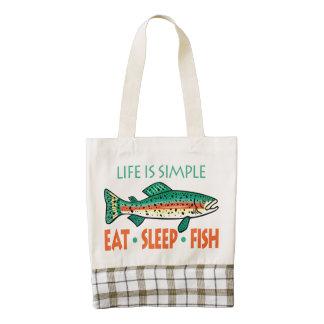 Coma los pescados del sueño - pescador divertido bolsa tote zazzle HEART
