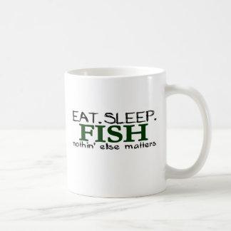 Coma los pescados del sueño taza de café
