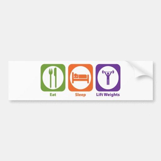 Coma los pesos de la elevación del sueño etiqueta de parachoque
