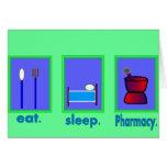 Coma los regalos del farmacéutico de la farmacia d tarjetón