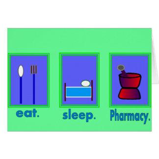 Coma los regalos del farmacéutico de la farmacia d tarjeta de felicitación