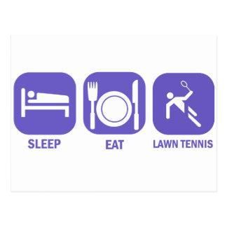 Coma los tenis sobre hierba del sueño postales