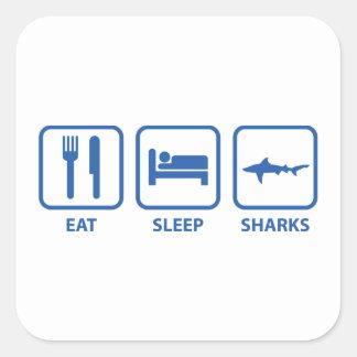 Coma los tiburones del sueño pegatina cuadrada