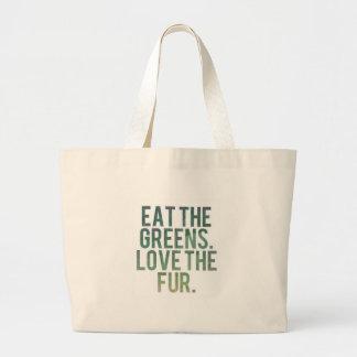 ¡Coma los verdes de Yo! Bolsa Tela Grande