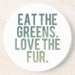 ¡Coma los verdes de Yo! Posavasos Para Bebidas