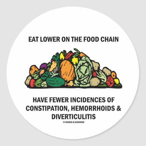 Coma más bajo en la cadena alimentaria (las pegatina redonda