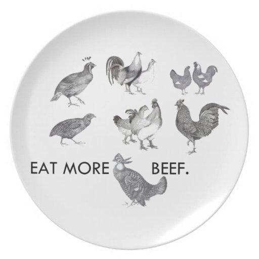 Coma más carne de vaca - ahorre los pollos platos de comidas