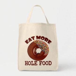 Coma más comida del agujero bolsa tela para la compra