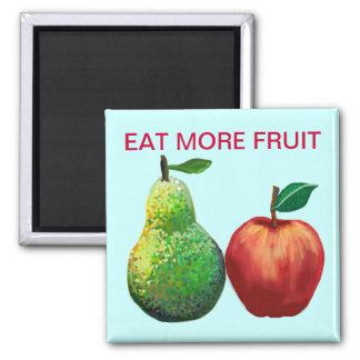 Coma más fruta - manzana y pera imán cuadrado