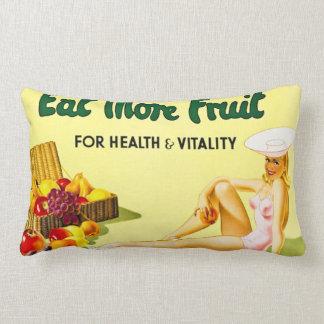 Coma más fruta para el vintage de la salud y de la cojín